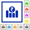 Indian Rupee graph framed flat icons - Set of color square framed indian Rupee graph flat icons