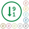 Descending numbered list outlined flat icons - Set of Descending numbered list color round outlined flat icons on white background