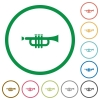 Trumpet outlined flat icons - Set of trumpet color round outlined flat icons on white background