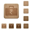 Indian Rupee bag wooden buttons - Set of carved wooden indian Rupee bag in 8 variations.
