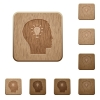 Idea wooden buttons - Set of carved wooden idea in 8 variations.