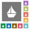 Sailboat square flat icons - Sailboat flat icon set on color square background.