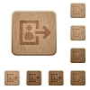 User logout wooden buttons - Set of carved wooden user logout in 8 variations.