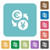Flat Euro Yen exchange icons - Flat Euro Yen exchange icons on rounded square color backgrounds.