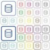 Database color outlined flat icons - Set of database flat rounded square framed color icons on white background. Thin and thick versions included.