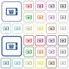 Mobile shopping color outlined flat icons - Set of mobile shopping flat rounded square framed color icons on white background. Thin and thick versions included.