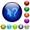 Color help cursor glass buttons - Set of color help cursor glass web buttons.