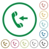 Incoming call outlined flat icons - Set of incoming call color round outlined flat icons on white background