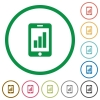 Smartphone signal strength outlined flat icons - Set of smartphone signal strength color round outlined flat icons on white background