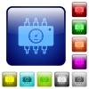 Color hardware diagnostics square buttons - Set of hardware diagnostics color glass rounded square buttons