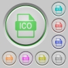 ICO file format push buttons - Set of color ICO file format sunk push buttons.