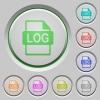 LOG file format push buttons - Set of color LOG file format sunk push buttons.