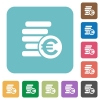 Flat Euro coins icons - Flat Euro coins icons on rounded square color backgrounds.