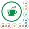 Cappuccino flat icons with outlines - Cappuccino flat color icons in round outlines