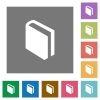 Book square flat icons - Flat book icons on simple color square background.