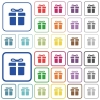 Gift box color outlined flat icons - Set of gift box flat rounded square framed color icons on white background. Thin and thick versions included.