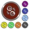 Set of color glossy coin-like Euro Lira exchange buttons - Color Euro Lira exchange buttons
