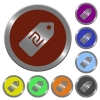Color new Shekel price label buttons - Set of color glossy coin-like new Shekel price label buttons