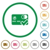Accept credit card flat icons with outlines - Accept credit card flat color icons in round outlines