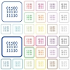 Binary code color icons in flat rounded square frames. Thin and thick versions included. - Binary code color outlined flat icons