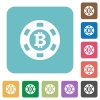 Bitcoin casino chip flat icons - Bitcoin casino chip flat icons on color rounded square backgrounds