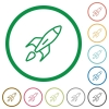 Launched rocket flat icons with outlines - Launched rocket flat color icons in round outlines