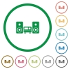 Stereo system flat icons with outlines - Stereo system flat color icons in round outlines
