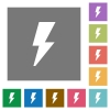 Flash square flat icons - Flash flat icons on simple color square background.