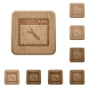 Application maintenance wooden buttons - Application maintenance icons in carved wooden button styles