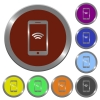 Cellphone wireless network color buttons - Cellphone wireless network icons in color glossy coin-like buttons