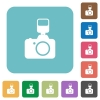 Camera with flash flat icons - Camera with flash flat icons on color rounded square backgrounds