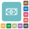 Dollar banknotes flat icons - Dollar banknotes flat icons on color rounded square backgrounds