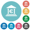 Euro bank flat round icons - Euro bank flat white icons on round color background.