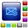 Mail settings color square buttons - Mail settings color glass rounded square button set