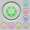 Indian Rupee casino chip push buttons - Indian Rupee casino chip color icons on sunk push buttons