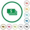 Dollar banknotes flat icons with outlines - Dollar banknotes flat color icons in round outlines
