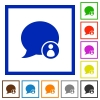 Blog comment owner flat color icons in square frames - Blog comment owner flat framed icons