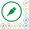 USB plug flat icons with outlines - USB plug flat color icons in round outlines