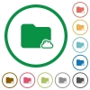 Cloud folder flat icons with outlines - Cloud folder flat color icons in round outlines