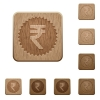 Indian Rupee sticker wooden buttons - Indian Rupee sticker icons in carved wooden button styles