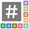 Hash tag square flat icons - Hash tag flat icons on simple color square background.