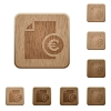 Euro report wooden buttons - Euro report icons in carved wooden button styles