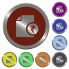 Indian Rupee report color buttons - Indian Rupee report icons in color glossy coin-like buttons