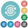 International flat round icons - International flat white icons on round color background.