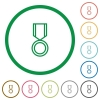 Medal flat icons with outlines - Medal flat color icons in round outlines
