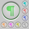 Text paragraph push buttons - Text paragraph color icons on sunk push buttons