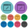 Application edit color flat icons - Application edit flat icons on color round background.