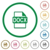 DOCX file format flat icons with outlines - DOCX file format flat color icons in round outlines