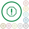 Error sign flat icons with outlines - Error sign flat color icons in round outlines