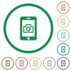 Mobile photography flat icons with outlines - Mobile photography flat color icons in round outlines